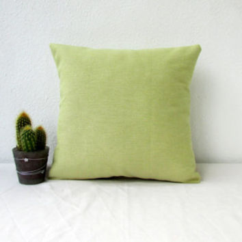 Green cushion cover, small pillow cover, green linen cushion, small throw pillow cottage chic decor Modern british fabric handmade in the UK