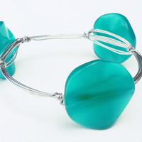 Green Glass Circles Wire Wrapped Bangle - Silver Wire Wrap Bracelet - Green Glass Bead Bracelet - Green Sea Glass Bracelet - Silver Bangle