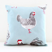 Hen cushion cover, small 12 inch pillow cover with chicken print cottage chic style, small throw pillow , handmade in the UK