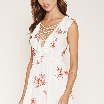 Ruffled Floral Print Dress | Forever 21 - 2000185350