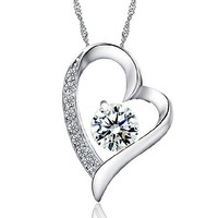 ZLYC Women Lady Fashion Sterling Silver Delicate Heart Shape Zircon Pendant Necklace 3