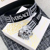 Versace Fashion New Human Head Buckle Letter Print Leather Women Men Belt
