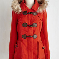 70s Long Long Sleeve Harvest Fest Coat in Vermillion