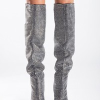 Silver Diamante Embellished Knee High Boots