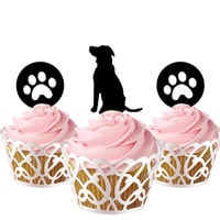 5 pcs in one set dog and pugs CupCake toppers for party decor, birthday party cupcake toppers acrylic,  gift for birthday