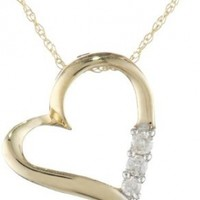 """10k Yellow Gold and Diamond 3-Stone Heart Pendant Necklace (1/10 cttw, I-J Color, I2-I3 Clarity), 18"""""""