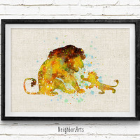 Simba and Mufasa Disney Watercolor Art Poster Print, The Lion King Watercolor, Kids Decor, Kids Gift, Not Framed, Buy 2 Get 1 Free!