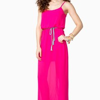Pebbled Blouson Belted Maxi