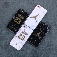 High quality Jordan 23 Soft silicon Case Cover for Apple iPhone 7 7plus Case Luxury Marble stone Fundas for 6 S 6s Plus Coque