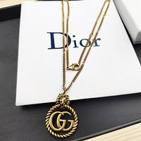 GUCCI New fashion letter pendant couple necklace accessory Golden