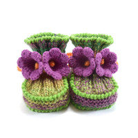 Baby Booties, Knitted with Crochet Bell Flowers - Green and Pink, 6 - 12 months