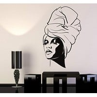 Vinyl Wall Decal African Woman Turban Black Lady Fashion Model Stickers Unique Gift (1202ig)
