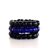 Beaded Stretch Rings Stacking Elastic Stackable Bohemian Bluish Purple Unique Gift For Her Christmas Stocking Stuffer Under 5 Item Q14
