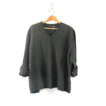 charcoal gray vneck Sweater. oversized baggy sweater.