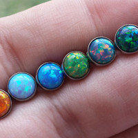 """Opal 14 gauge (1.6mm) Stone Tongue Barbell 5/8"""" (16mm) & More Sizes Available! Piercing Jewelry Ring"""