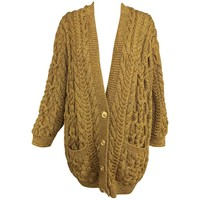 Anne Klein chunky gold metallic knit cardigan sweater 1990s