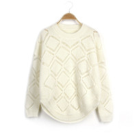 Winter Sweets Geometric Sweater Hollow Out Knit Bottoming Shirt [8216430913]