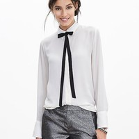Banana Republic Womens Contrast Tie Front Blouse