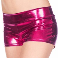 Pink Dark Fuschia (Metallic) Solid Color Booty Shorts