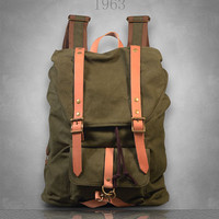 New Canvas Backpack Rucksack Bag Large / travel/school/womens/ Mens unisex green brown gray grey Genuine Leather straps fit 14'' laptop