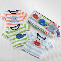 """Baby Aspen """"Deep Sea Tee's"""" Set of 3 T-Shirts for Baby"""