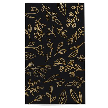 Large Black & Gold Floral Match Box