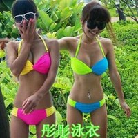 Cute Candy Bandeau Padded Bra Bikini Top Bottom Lady Swimwear Swimsuit Set 2222