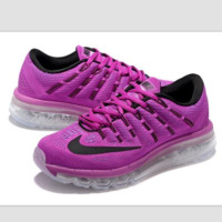 """""""NIKE"""" Trending Air Max Toe Cap hook section knited Fashion Casual Sports Shoes roses black hook (transparent soles)"""
