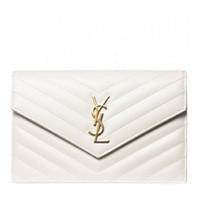 Saint Laurent Small White Monogram wallet grain de poudre