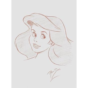 Ron Dias Hand Drawing Signed Authentic Sketch Of Ariel Little Mermaid Disney