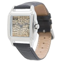 Music in Different Languages Wristwatches