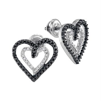 Sterling Silver Women's Round Black Color Enhanced Diamond Double Heart Stud Earrings 1-20 Cttw - FREE Shipping (USA/CAN)