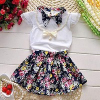 2017 New 3pcs Baby Girls Clothing Set Flower Outfits Summer Clothes Sets Toddlers Clothing Necklace Tops Skirts Patchwork