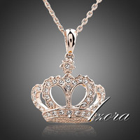 AZORA Queen's Crown 18K Rose Gold Plated Stellux Austrian Crystal Jewelry Pendant Necklace TN0095