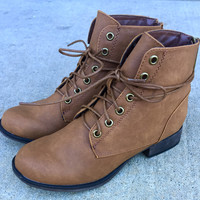 A Lace Up Combat Bootie in Tan