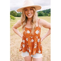Field of Flowers Cami, Rust Multi