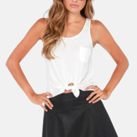 Lucy Love The Tie Ivory Tank Top