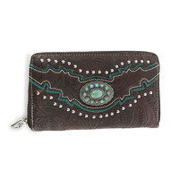 Montana West Turquoise Concho Tooled Leather Wallet