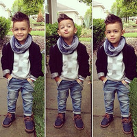 3Pcs Toddler Baby Boys Clothes Set Coat Tops Shirt Denim Pants 3pcs Boy Set Kids Warm Autumn Clothing Outfits