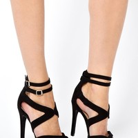 New Look | New Look Presentation Black Extreme Strap Single Sole Heeled Sandals at ASOS