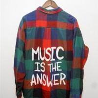 MUSIC IS THE ANSWER Vintage Flannel Shirt - LARGE - 00793