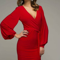 Sexy Red Dress Woman, Casual Wrap Cocktail dress Maternity.
