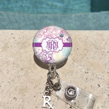 Paisley Monogram Badge Reel, Retractable Badge Holder, Personalized Badge Reels, Doctor Badge Reels, Pharmacy Badge Reels, RX,RN BSN,Purple