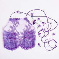 Purple Lily crop top halter embelished sequin embroidery lingerie boob tube co ord skirt bra bralette lace mesh soft silk satin ribbon