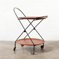 Round Double Rosewood Tray Rolling Cart with Removable Trays: Amsterdam Modern