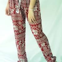 elephant pants red boho clothing one size fits elastic waist ankle/yoga pants/yoga trousers