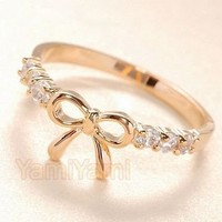 Lovely Cute Fashion Sweet Bowknot BOW Ring Rings Golden
