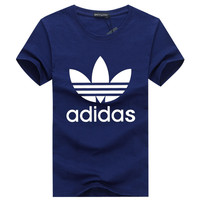 """Adidas"" Fashion Casual Male Female Classic Style Clover Letter Print Cotton Short Sleeve T-shirt Sportswear Tops"