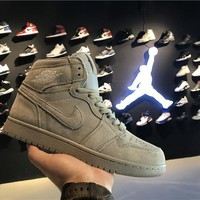 Air Jordan 1 Retro AJ1 Grey Suede Men Sneaker-1