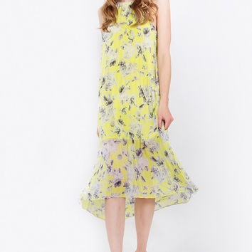Sleeveless Pleated Floral Print Trapeze Midi Dress - Chartreuse